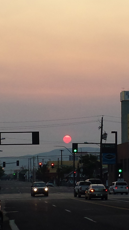 sunrise in reno / yosemite fire haze