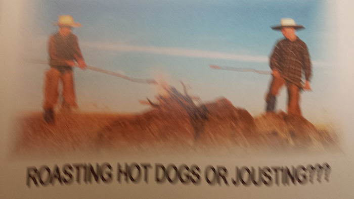 roasting hot dogs or jousting
